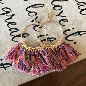NEW Trendy Tassel Hoop Earrings  NWOT